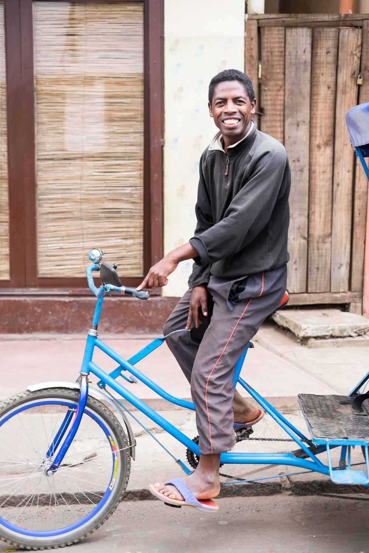 Tony on abicycle rickshaw.