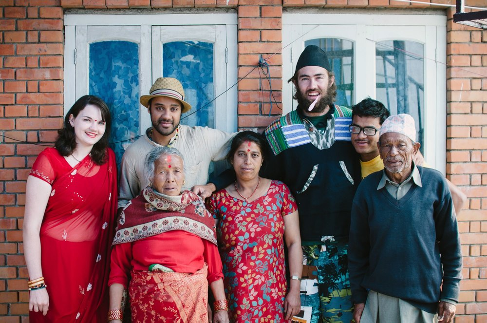 My host-family in Nepal and the three others surfers they were also hosting at the time.