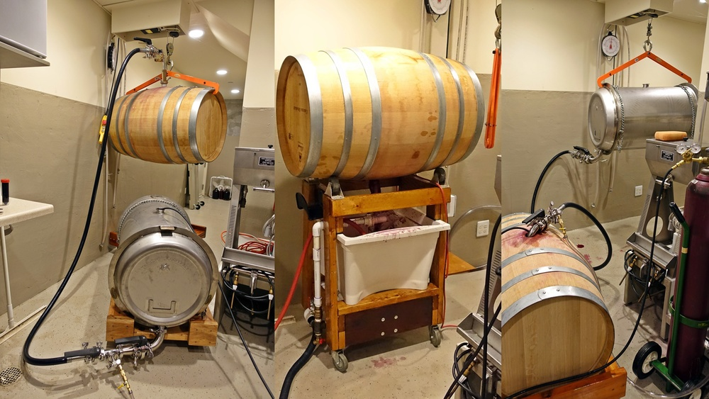7 Racking: move wine from barrel to steel tank, clean barrel, then move wine back