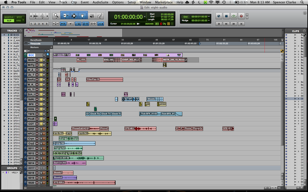 The soloed ( yellow  ) tracks on the Pro Tools session contain the sounds that made it into the final take.  The video take with freeze-frames is the uppermost track.