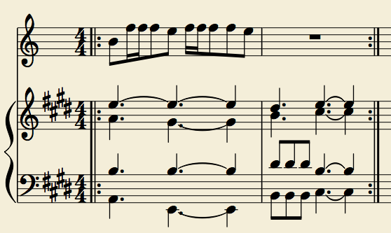 The whistling line is written on top, the droning pads that enter are written on the treble clef, and the notes that I could make out from the muted guitar are represented on the bass clef.