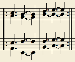 This voicing ordered according to parts on the arrangement. Tenors on top, basses on the bottom. Only four parts sang for the first two measures. There are other entrances later on, but this illustrates the basic voicing.