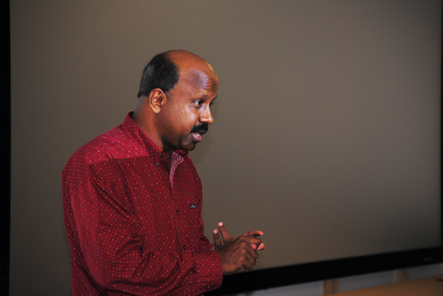 "Carnegie Mellon University Prof. Raja Sooriamurthi describes the new ""Data Driven Era"" the world has now entered, to the 2016 Pittsburgh Data Jam high school teachers. The teacher workshops took place Friday, Nov. 6, at the Pittsburgh Supercomputing Center in Pittsburgh's Oakland neighborhood.  Photo by Matt De Reno."