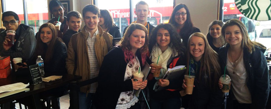Students at a Starbucks Coffee prior to the Feb. 26, 2016 Student Workshop conducted at Carnegie Mellon University in Pittsburgh's Oakland neighborhood. Photo courtesy of Bethel Park High School.