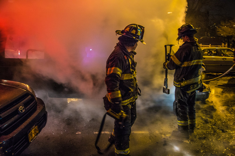 Firefighters respond to an vehicle fire in Brooklyn