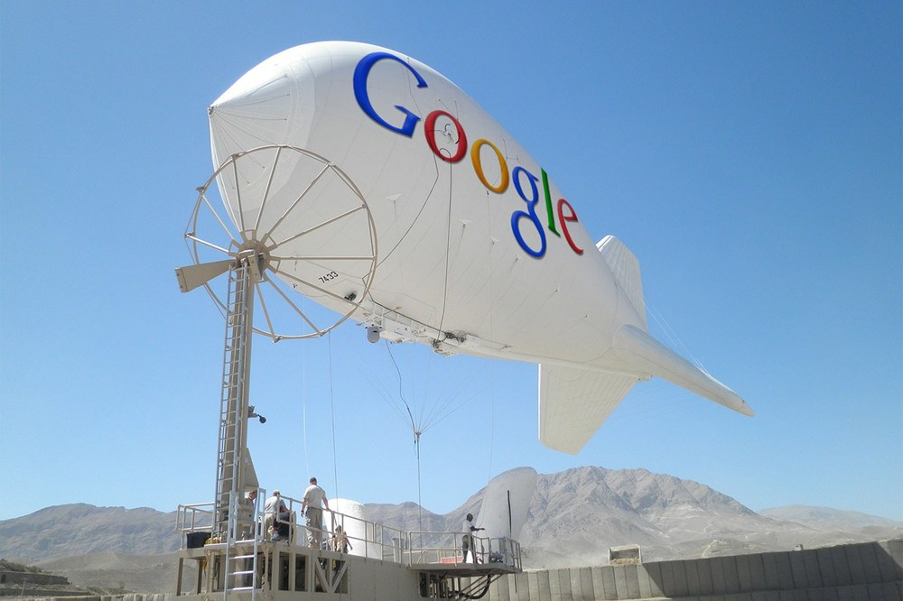 Google's Blimp Concept to Bring Wireless Access to Rural Areas.  Photograph: Isafmedia/Wired magazine