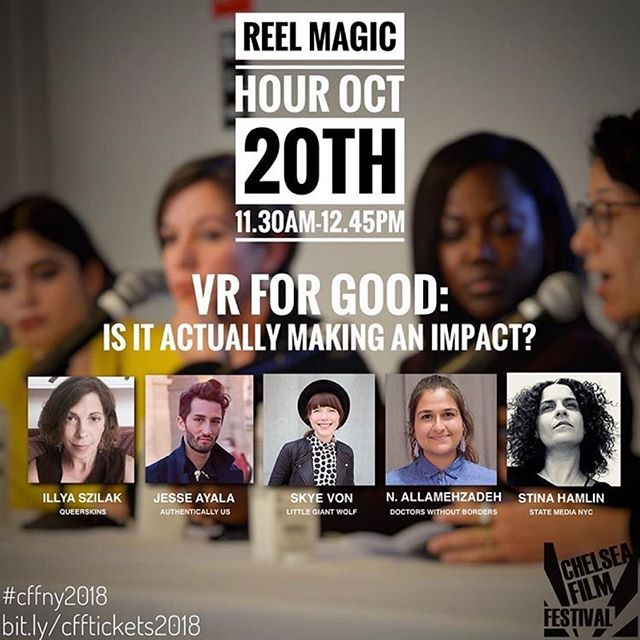 See you in a few hours at #ReelMagicHour talking #VR + #impact with @StinaHamlin @queerskins @littlegiantwolf at the  @chelseafilmfestival  #VR #VRforGood #socialimpact #storytelling #nonprofit #newinc #film #LGBTQ #humanrights