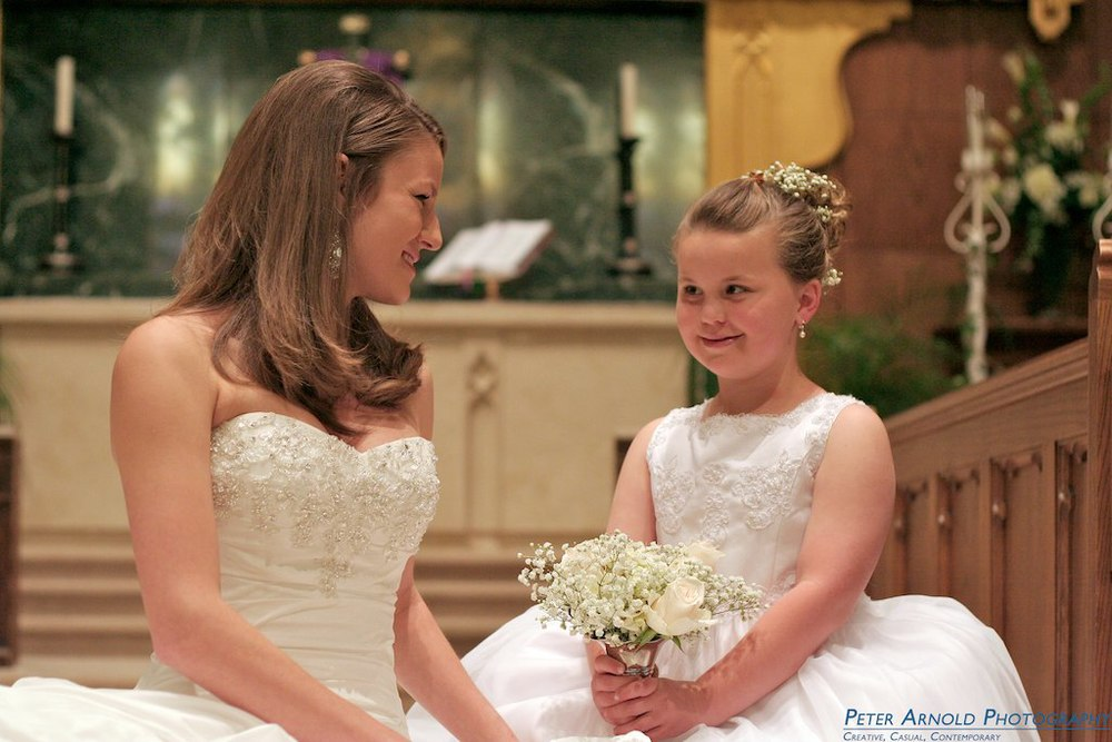 Bride and Flower Girl, Salisbury, NC Wedding Photographer
