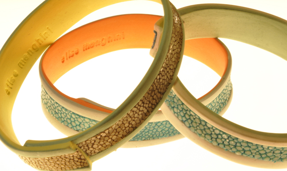 porcelain and shagreen bangles