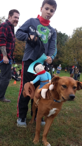 The Bullrider/Cowboy (Lola) came in second and won a $100 leash-walking session from  Calm Energy Dog Training .