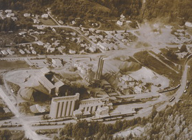 Aerial of cement plant in full operation