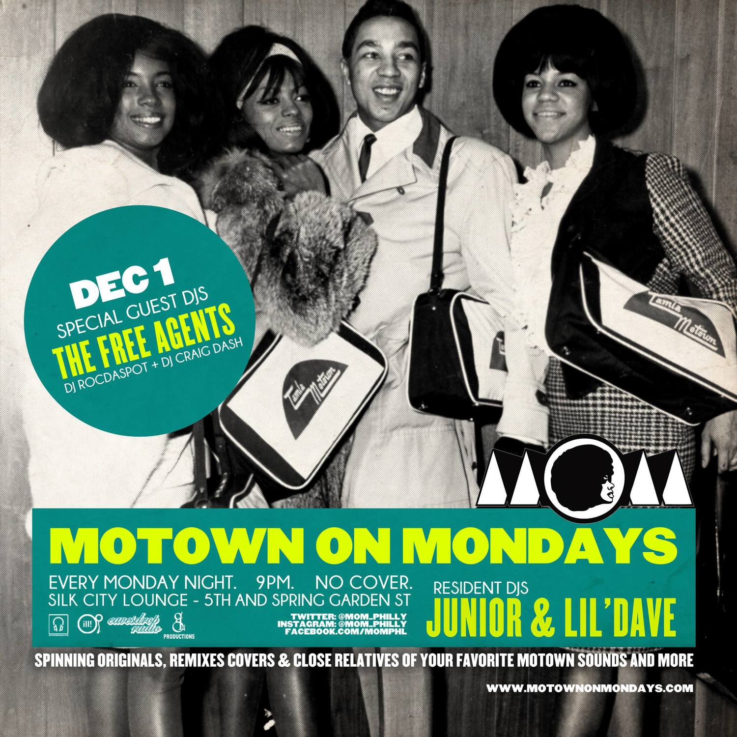 MOTOWN ON MONDAYS (MOM) w/ FREE AGENTS DJs Rocdaspot & Craig Dash