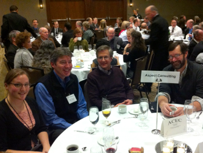 Mark Sadler (2nd from right), City of Everett, joined Aspect project team members at the awards banquet.