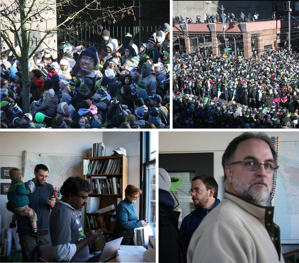 1-2 pm: More waiting . . . still no sign of live Seahawks – or a parade . . . crowd thickens . . . inside watchers get restless waiting . . .