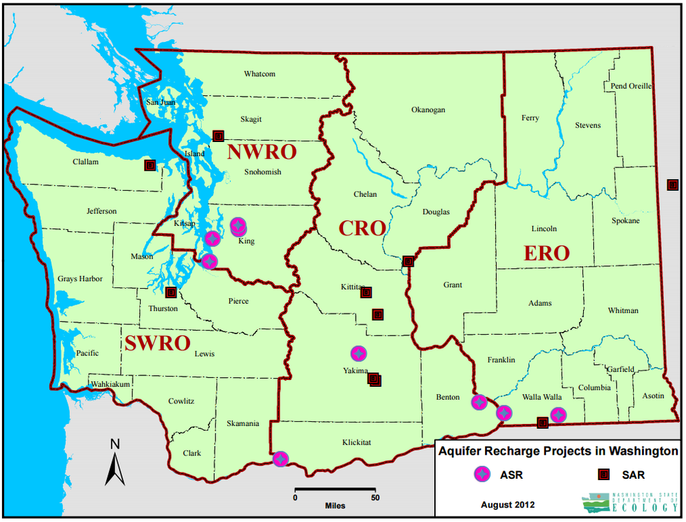 Figure 2. Groundwater Recharge Projects in Washington State (ASR = Aquifer Storage and Recovery; SAR = Shallow Aquifer Recharge) Source:  http://www.ecy.wa.gov/programs/wr/asr/asr-home.html