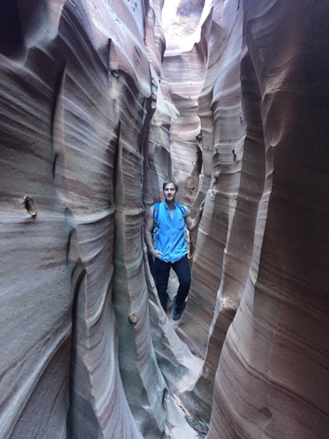 Eric in the Zebra Slot Canyon outside Escalante, Utah