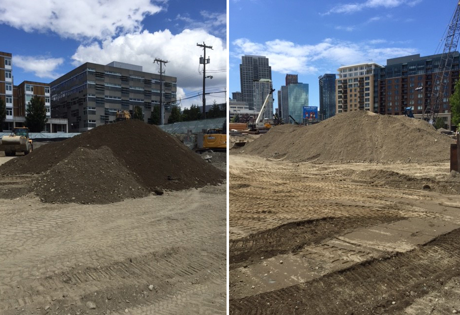 Excavated soil from Seattle City Light's new  Denny Substation  in South Lake Union. Under proposed new solid waste regulations, managing, hauling, and receiving this soil will likely be much more complicated for engineers, redevelopment teams, and landfill operators.