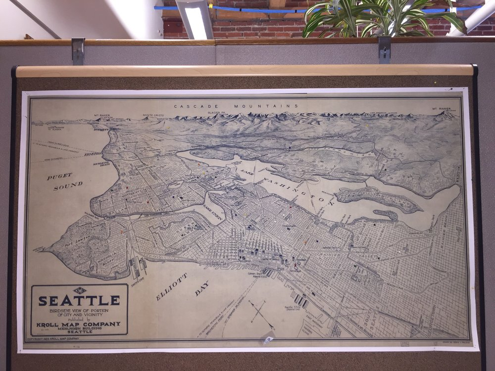 The Kroll map hanging in Aspect's Seattle office