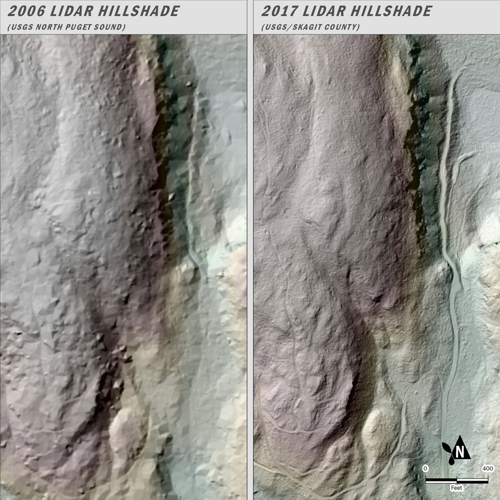 Compare the quality of the 2006 LiDAR map of Guemes Island (left) to the new version (right)