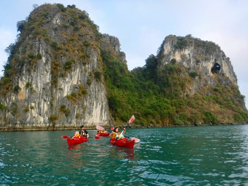 Jon and family kayaking near Elephant Island at the Bai Tu Long Bay World Heritage Site in Vietnam.