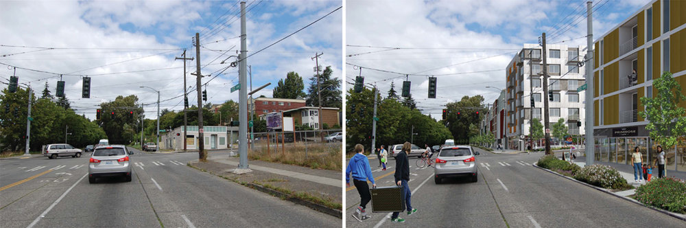 Before and after conceptual image of Mt. Baker Gateway Project  in South Seattle – one of the affordable housing cleanup sites that the Healthy Housing program is inspired from.
