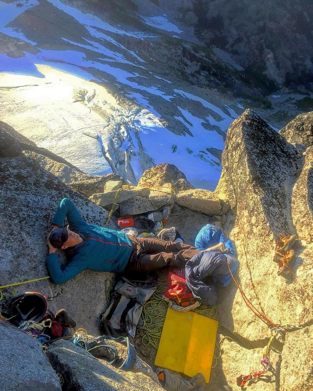 Taylor lounging on the north ridge of Mt. Stuart in Washington's central Cascades