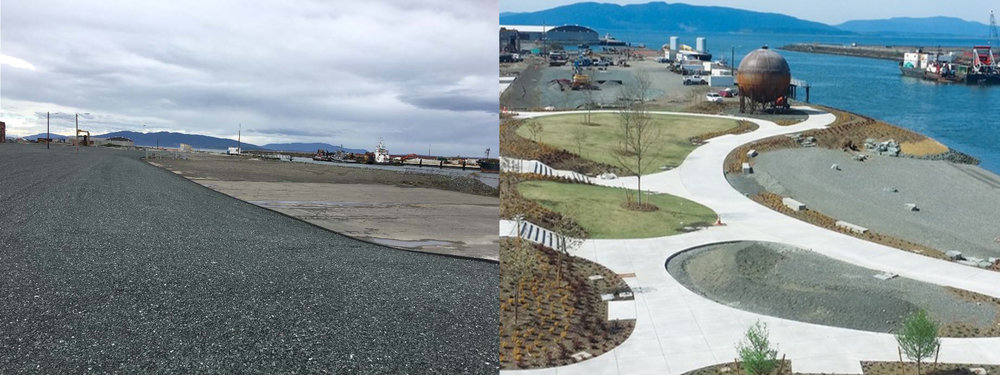 Waypoint Park Before and After Construction  City of Bellingham's Waypoint Park incorporated many environmental planning steps to turn a former industrial site into an urban waterfront park.