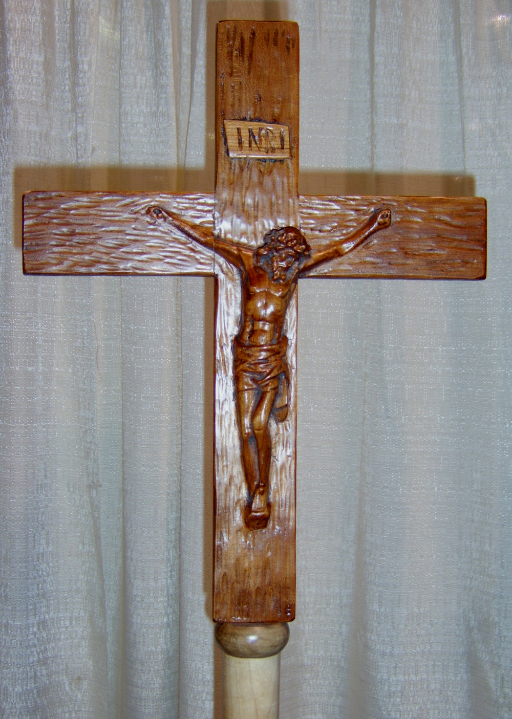 Carved Relief Processional Cross