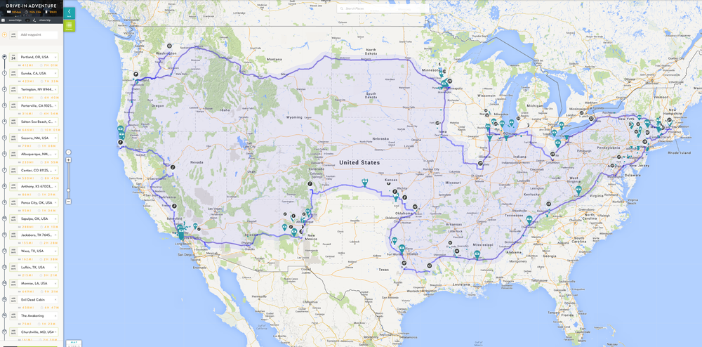 Here is my first rough trip outline.  This will be changing as I find more locations over the next few months. I am currently at 9,656 miles and an estimated 152 hrs 23 min trip.  I better start working on some awesome mix CDs to listen to.