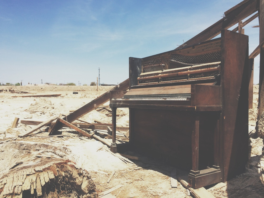 Abandoned piano, Bombay Beach, Salton Sea, CA