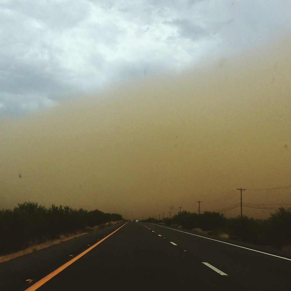 Dust storm or as I just learned a haboob in Tempe, AZ. Got in the car to go to a theatre in Globe, AZ that recently closed and my phone started beeping with a weather alert about a dust storm. Being the west coasters that we are, we hoped in the car anyway. Minutes later, this is what we came upon. We ended up turning around but not before I hoped out to get a few shots! Thanks to Noah my amazing assistant for capturing this.