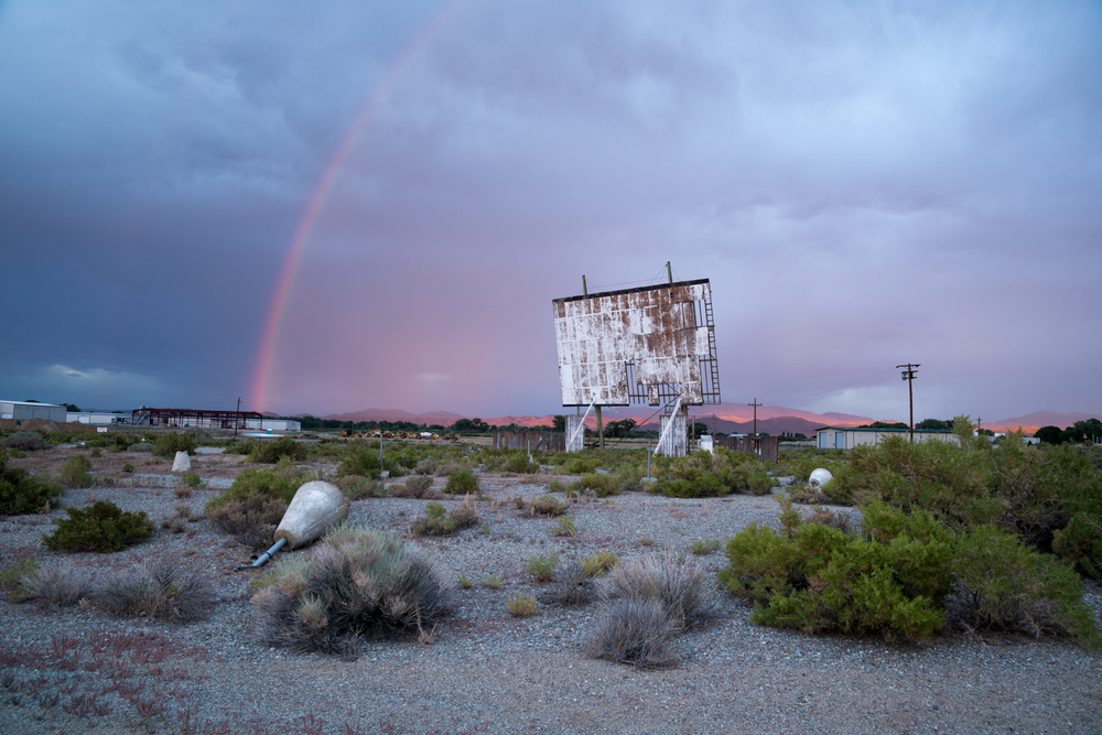 This abandoned theatre in Yerington, Nevada marked the first drive-in shoot of my trip. It was raining as we drove up and not looking promising but the skies opened up and gave me one of the most scenic backgrounds I saw on my adventure.
