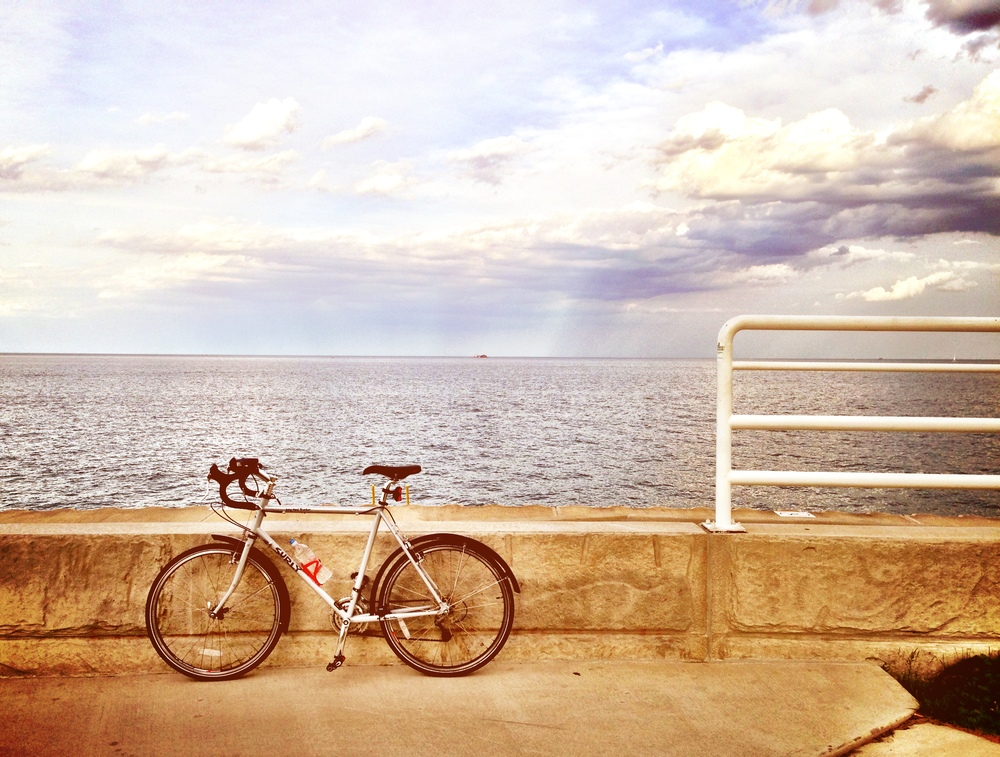 My Surly Long Haul Trucker, posing in front of Lake Michigan.