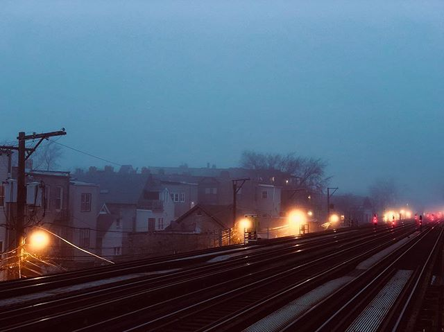 Foggy evening. Shot on January 21, 2018.  #fog #chicago #cta #tracks #gloom #dusk #evening #shotoniphone #shotoniphonex #iphonex