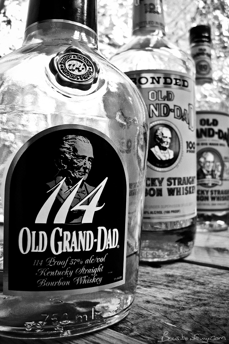 Three bottles of Old Grand-Dad at various proofs