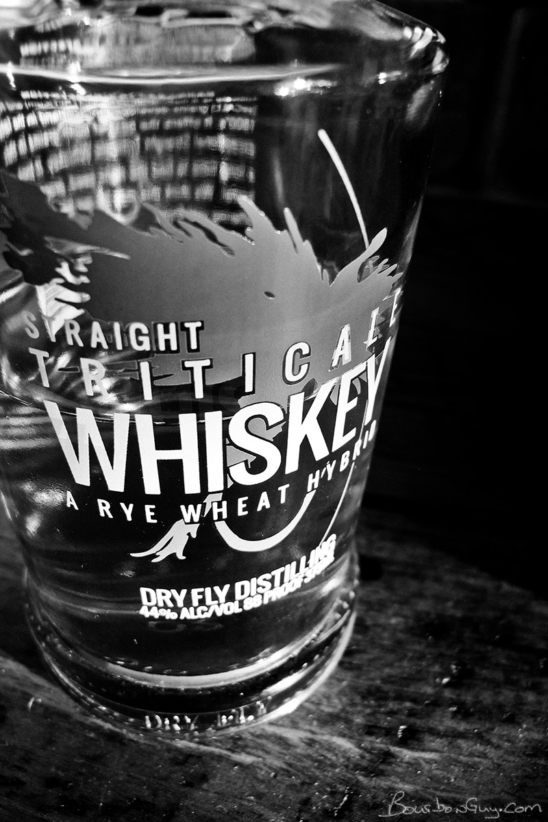 Dry Fly Straight Triticale Whiskey in the evening sun.