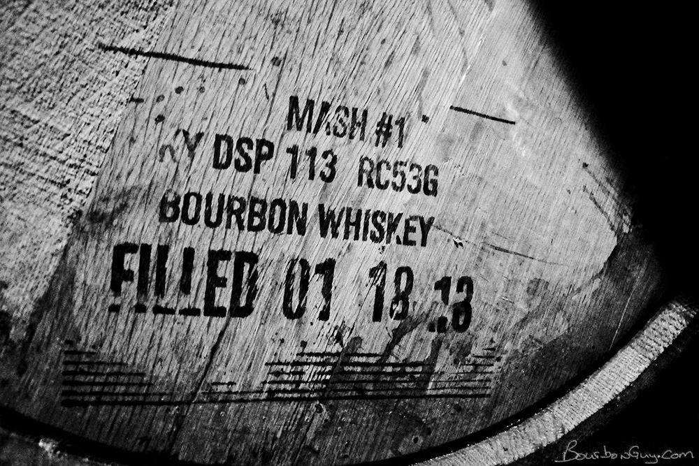 A barrel holding distillate made from Buffalo Trace' Rye Bourbon Mash #1. Someday it might become Eagle Rare, Buffalo Trace, George T. Stagg or Benchmark bourbons.