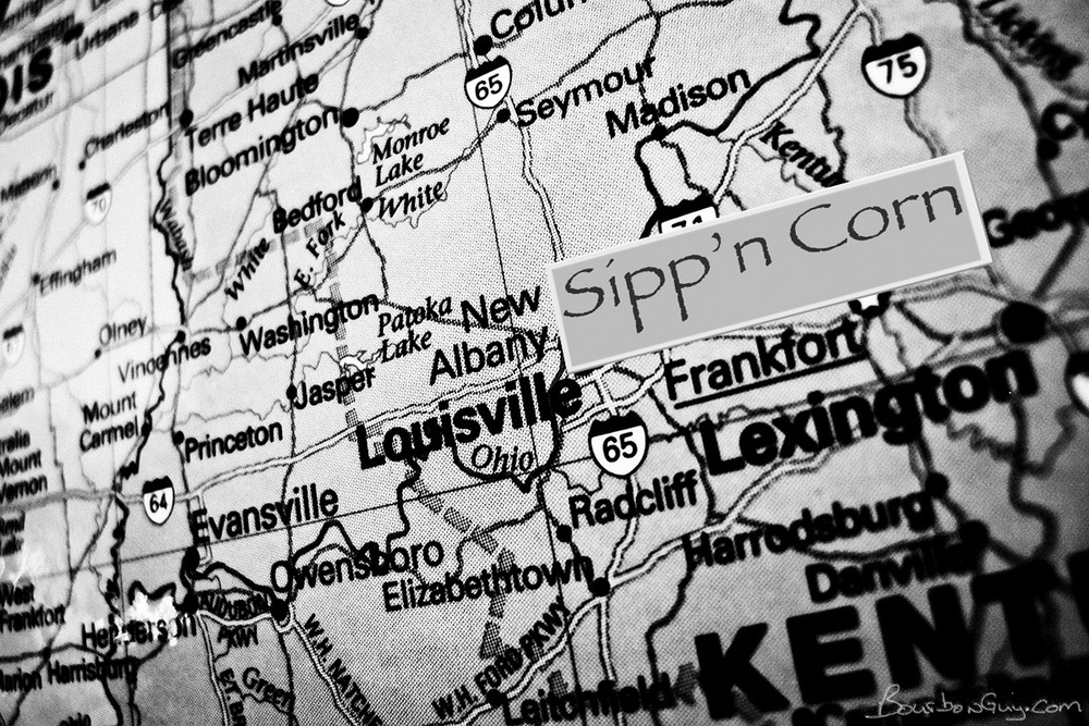 The Sipp'n Corn logo on a map of Kentucky