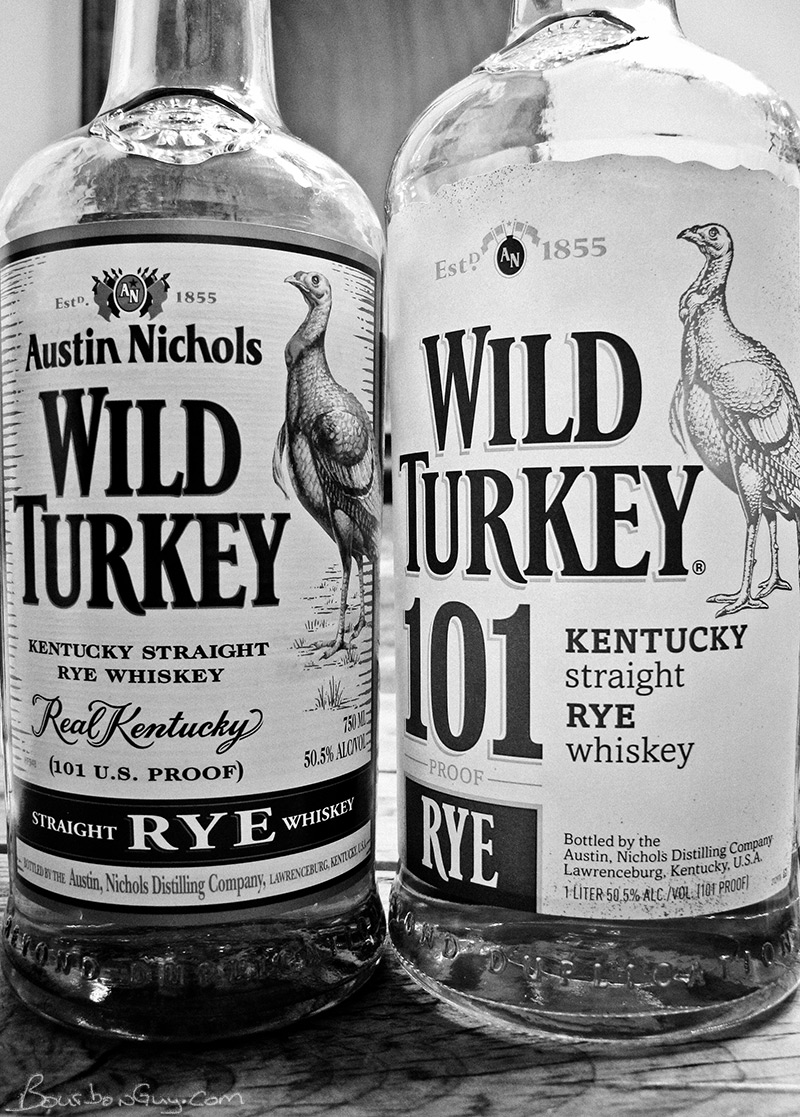 Pre-hiatus and post-hiatus Wild Turkey 101 proof rye whiskey