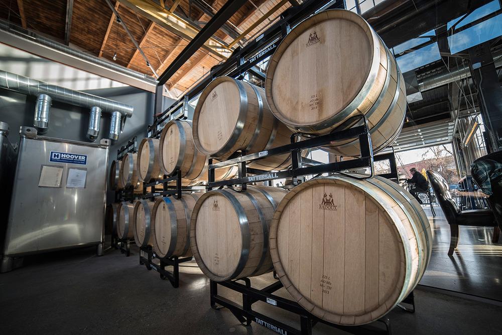 Barrels aging at Tattersall Distilling.(Photo Credits:Producer: Sam Kovar.Photographer: Tom Okins.)