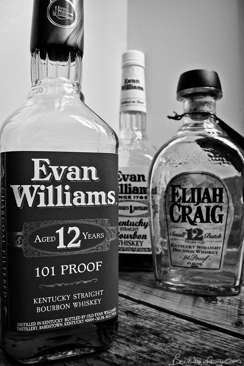 Evan Williams Red Label along with its cousins Evan Williams Bottled in Bond and Elijah Craig 12 year old.