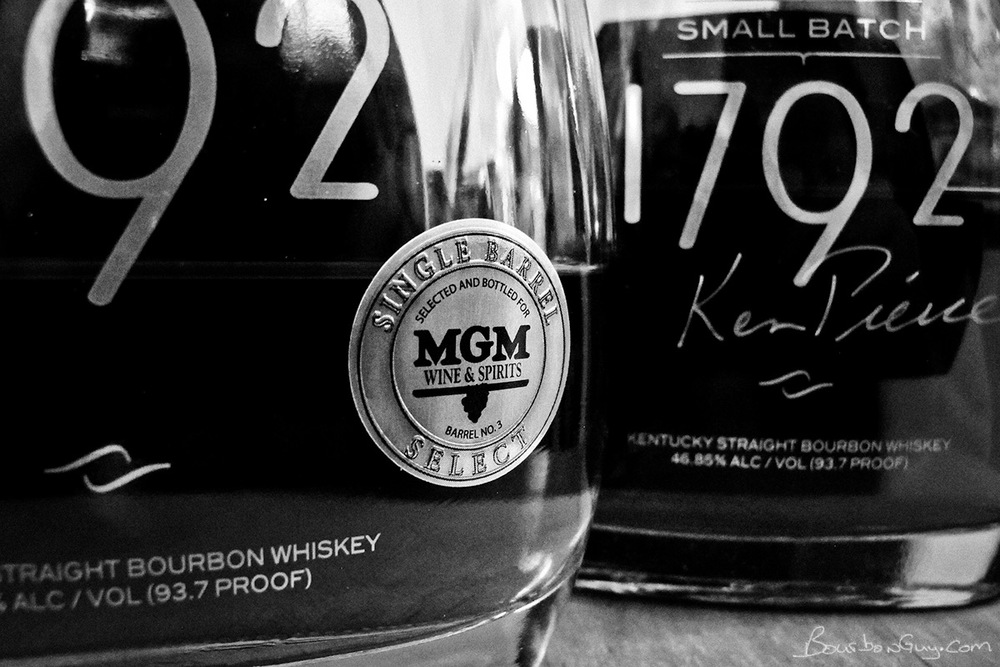 Single Barrel Select sticker on 1792 bottle