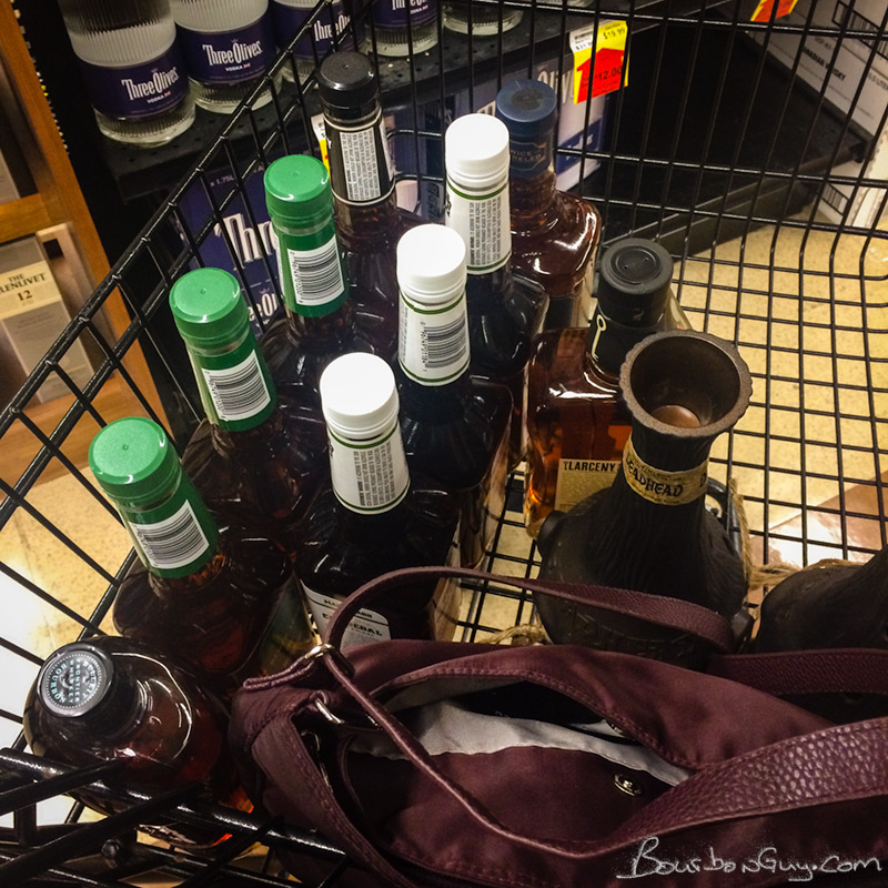 a cart full of bourbon I can't get at home.