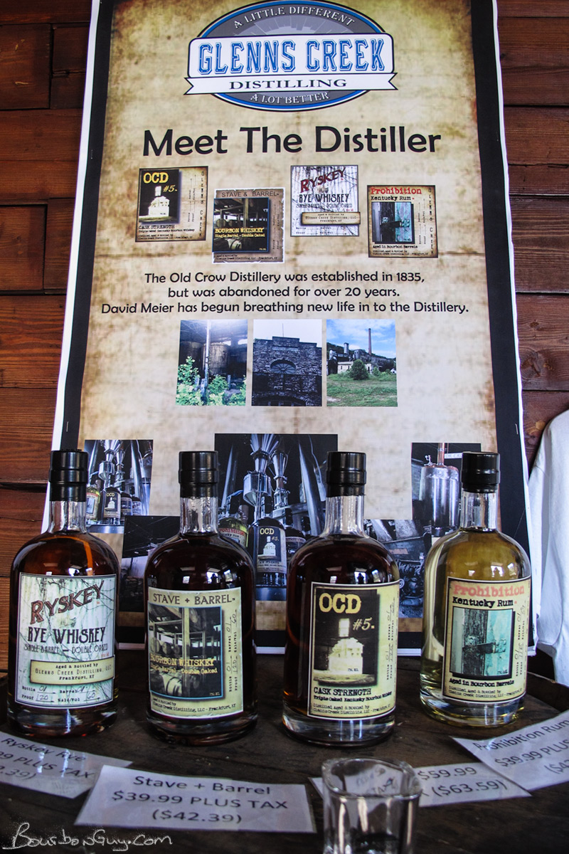 The Glenn's Creek Product Line Up. A rye whiskey, a sourced bourbon, a bourbon distilled on site and a rum distilled on site.