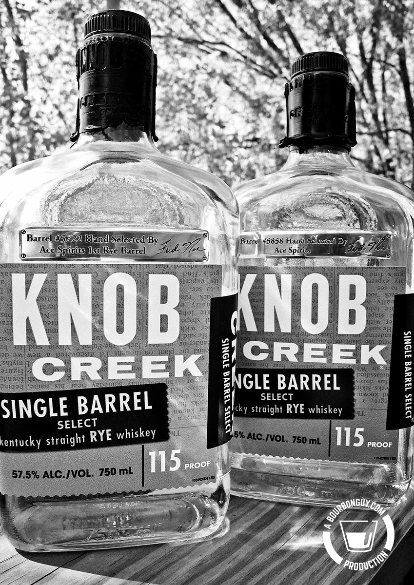 IMAGE: Two Knob Creek Rye Single Barrel Picks from Ace Spirits. Bottles 5722 and 5858.