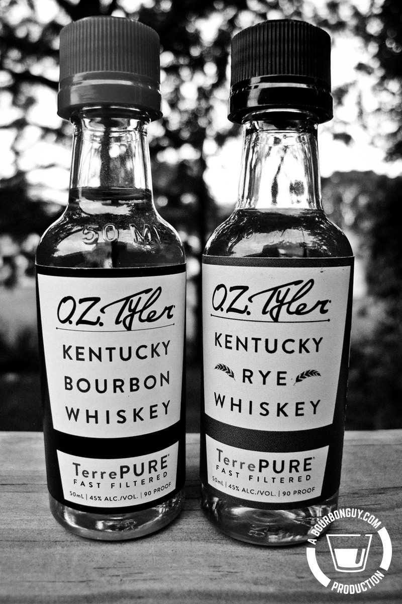 IMAGE: Two miniature bottles. One OZ Tyler Bourbon, one OZ Tyler Rye