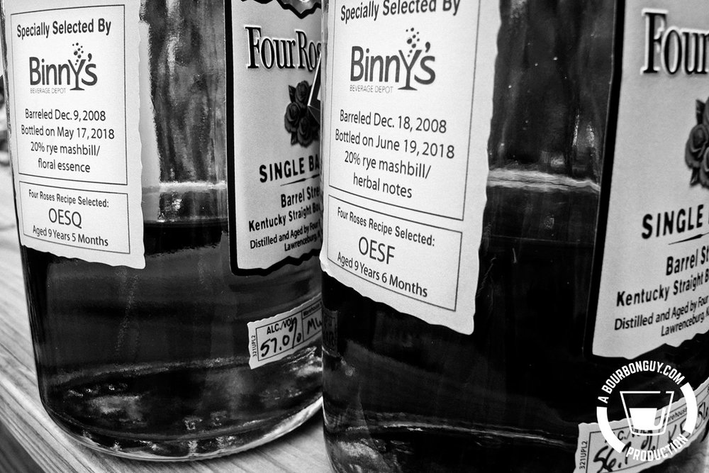 IMAGE: Side label of 2 Private Selections of Four Roses Single Barrel showing they were purchased from Binny's Beverage Depot