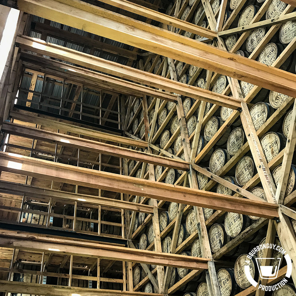 IMAGE: Beams holding up the viewing area in the Lux Row aging warehouse.