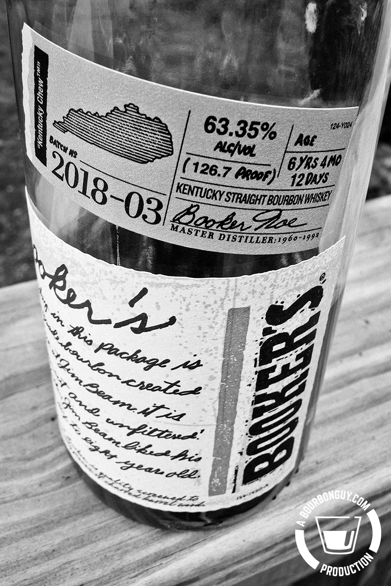 "IMAGE: Nicknamed ""Kentucky Chew,"" batch 2018-03 of Booker's Bourbon comes in at 63.35% ABV with an age of 6 years, 4 months and 12 days. This image is the front label stating all of this."