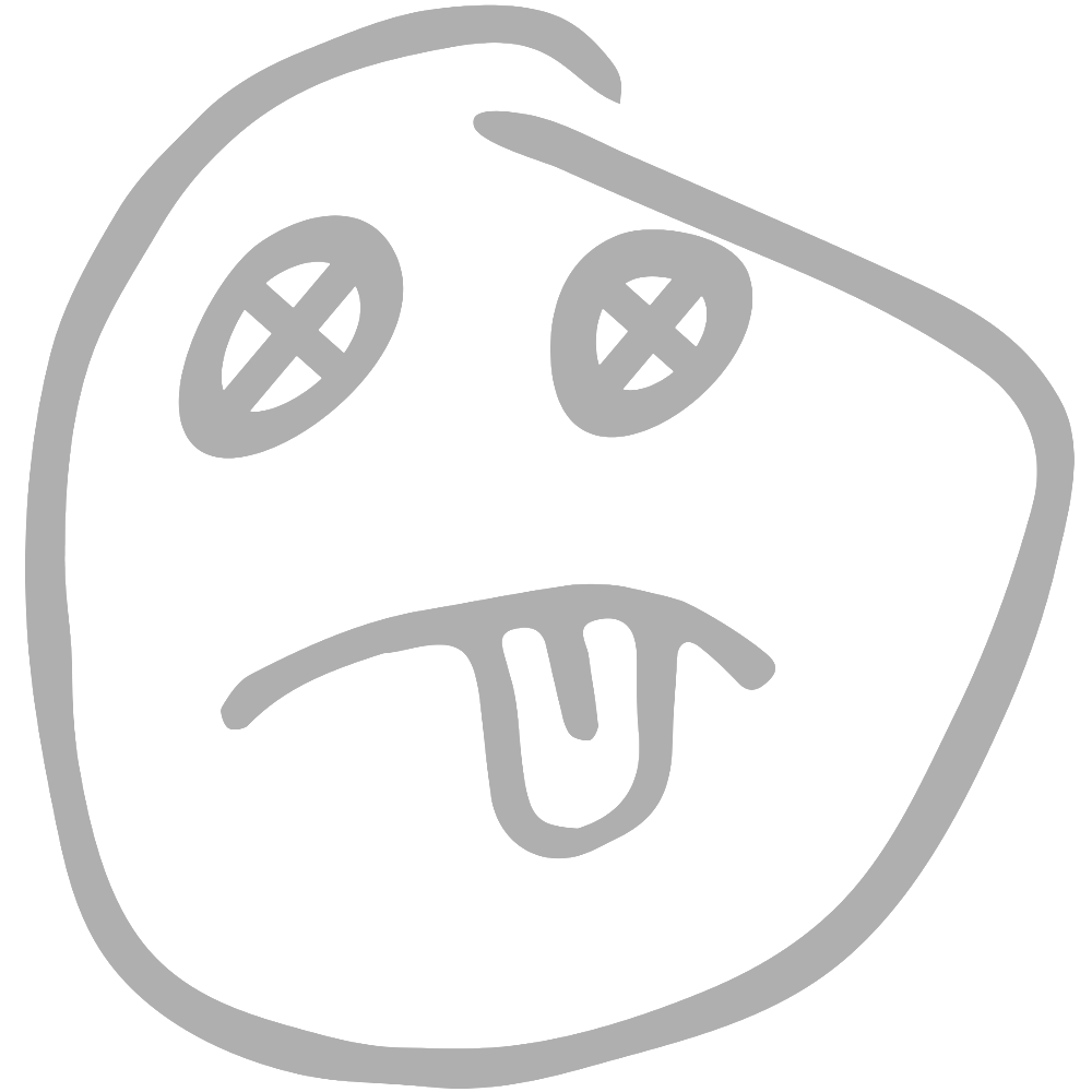 IMAGE: A hand drawn face with a frown, tongue sticking out and x's for eyes.